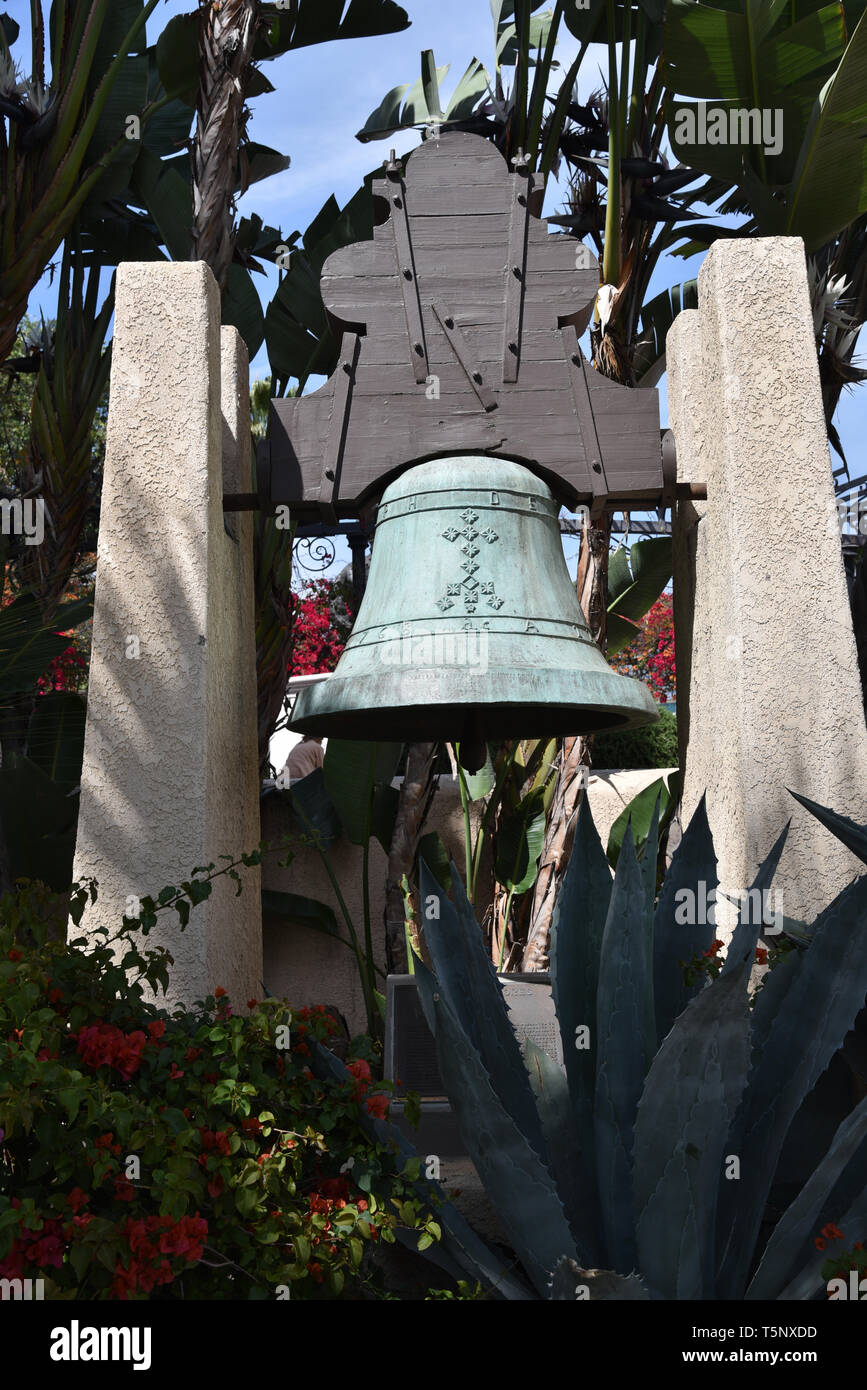 LOS ANGELES, CA/USA  - APRIL 14, 2019: Replica of the Bell of Dolores that was presented to Los Angeles by Mexico in 1968 - Stock Image