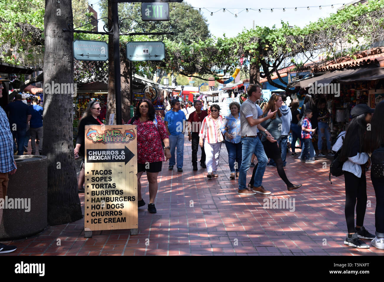 LOS ANGELES, CA/USA  - APRIL 14, 2019: Artisan booths on Olvera Street, an area considered to be the birthplace of Los Angeles - Stock Image