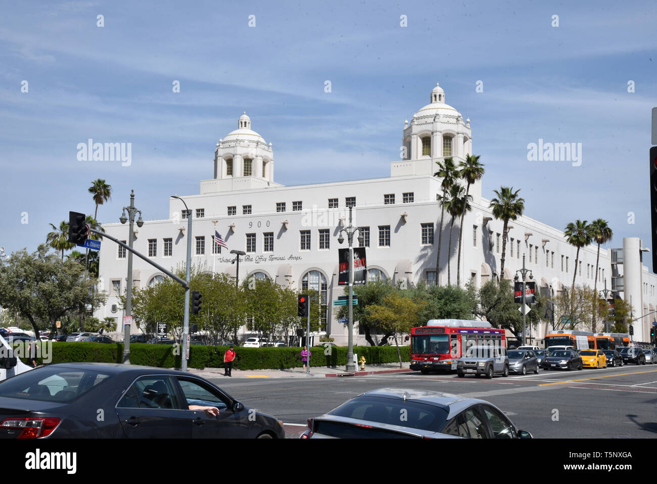 LOS ANGELES, CA/USA  - APRIL 14, 2019: the USPS Terminal Annex in Los Angeles is an example of Mission Revival and Spanish Colonial Revival architectu - Stock Image
