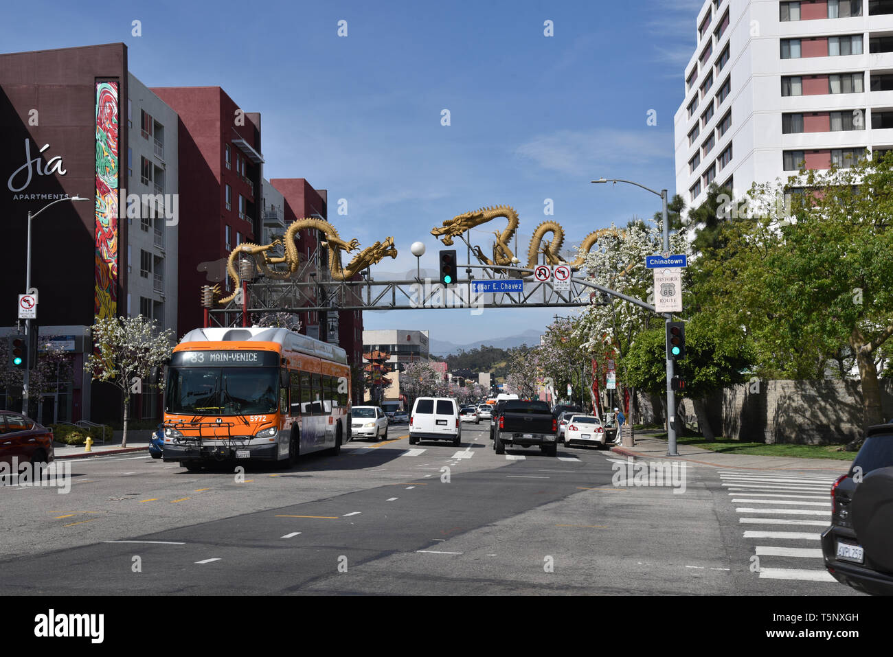 LOS ANGELES, CA/USA  - APRIL 14, 2019: The Dragon Gate entrance to Chinatown Los Angeles was established in 2001.  It was designed by artist Ruppert M - Stock Image