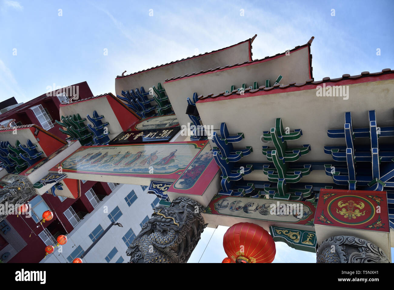 LOS ANGELES, CA/USA  - APRIL 14, 2019: Intricate Chinese architectural detail in Chinatown Los Angeles - Stock Image