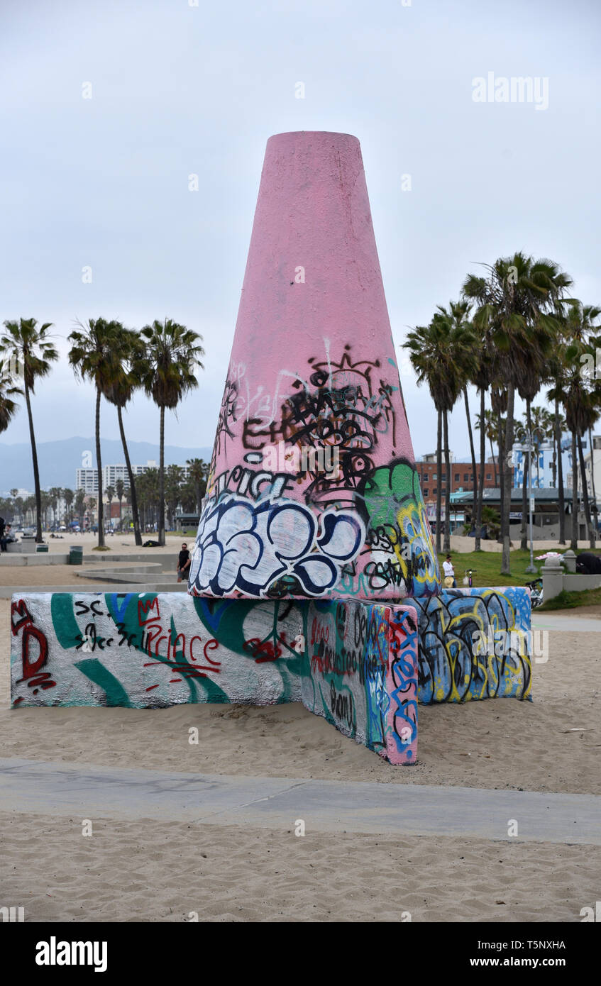 LOS ANGELES, CA/USA  - APRIL 19, 2019:  The Graffiti Walls and Drum Circle at Venice Beach California is a space designated for taggers and has become - Stock Image