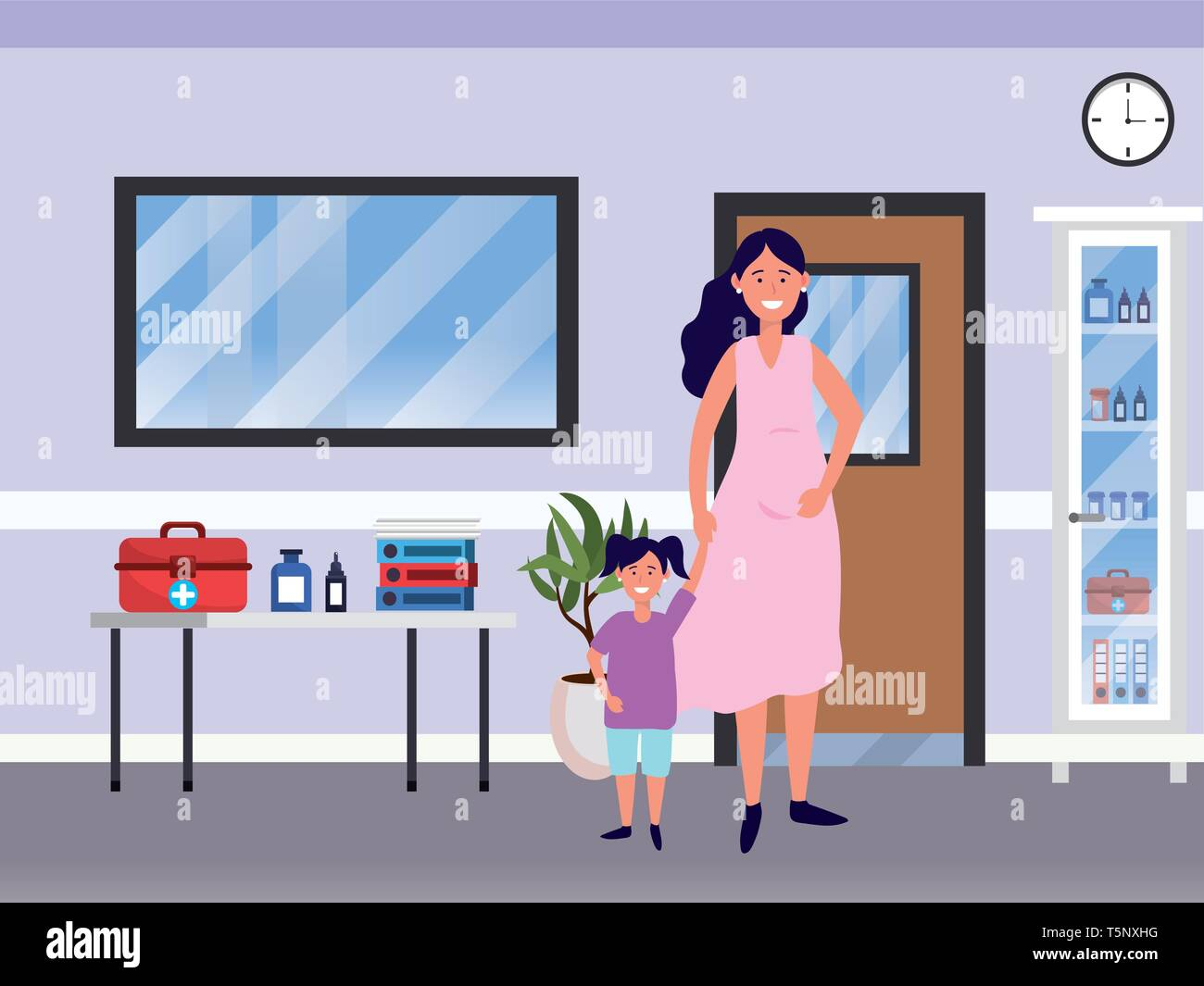 Family Baby Care Mom Woman With Child At Medical Hospital Room Cartoon Vector Illustration Graphic Design Stock Vector Image Art Alamy