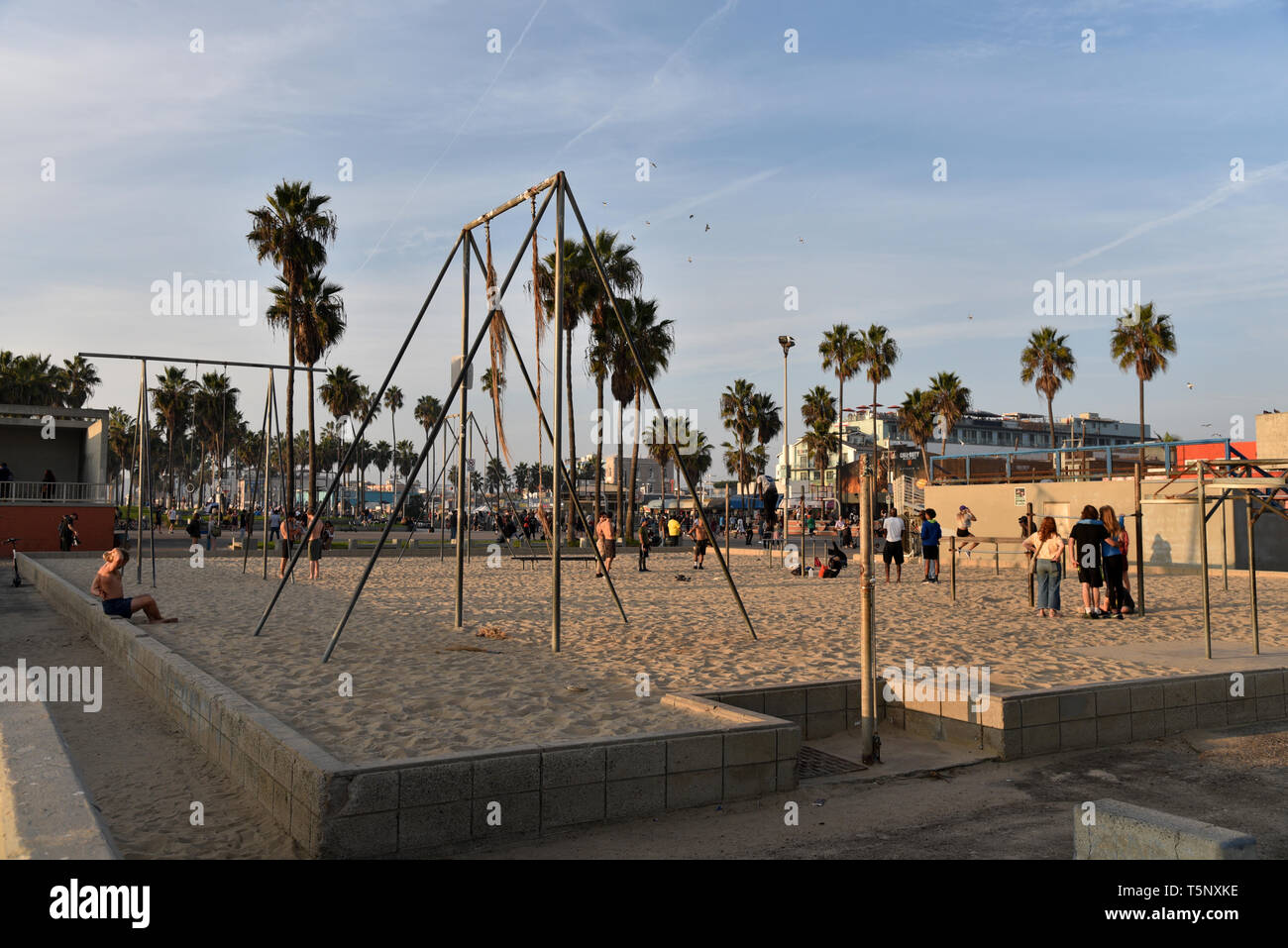 LOS ANGELES, CA/USA  - November 17, 2018: Gymnastics equipment at the world famous Muscle Beach in Venice California - Stock Image