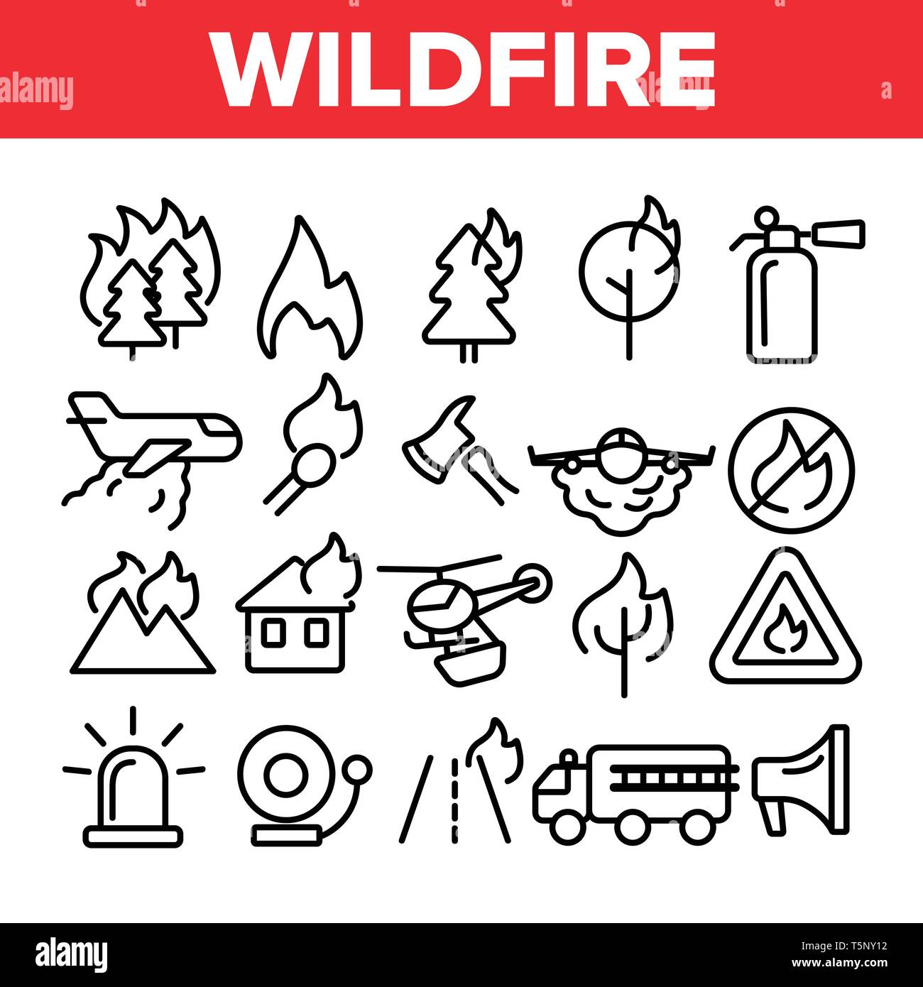 Wildfire, Bushfire Vector Thin Line Icons Set Stock Vector