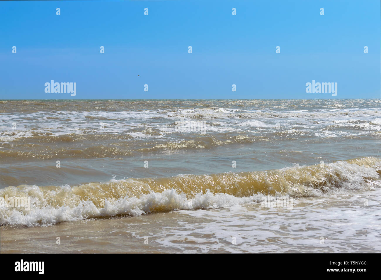 Waves on the shore. Sea wave with sunlight. Beautiful view of the sea and blue sky. Seascape. - Stock Image