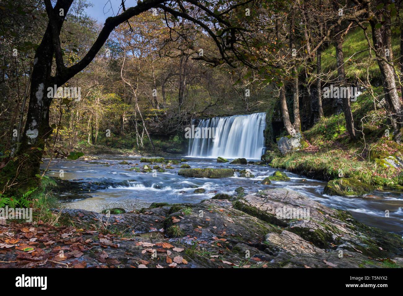 Sgwd Ddwli Uchaf on the Afon Nedd Fechan - Stock Image