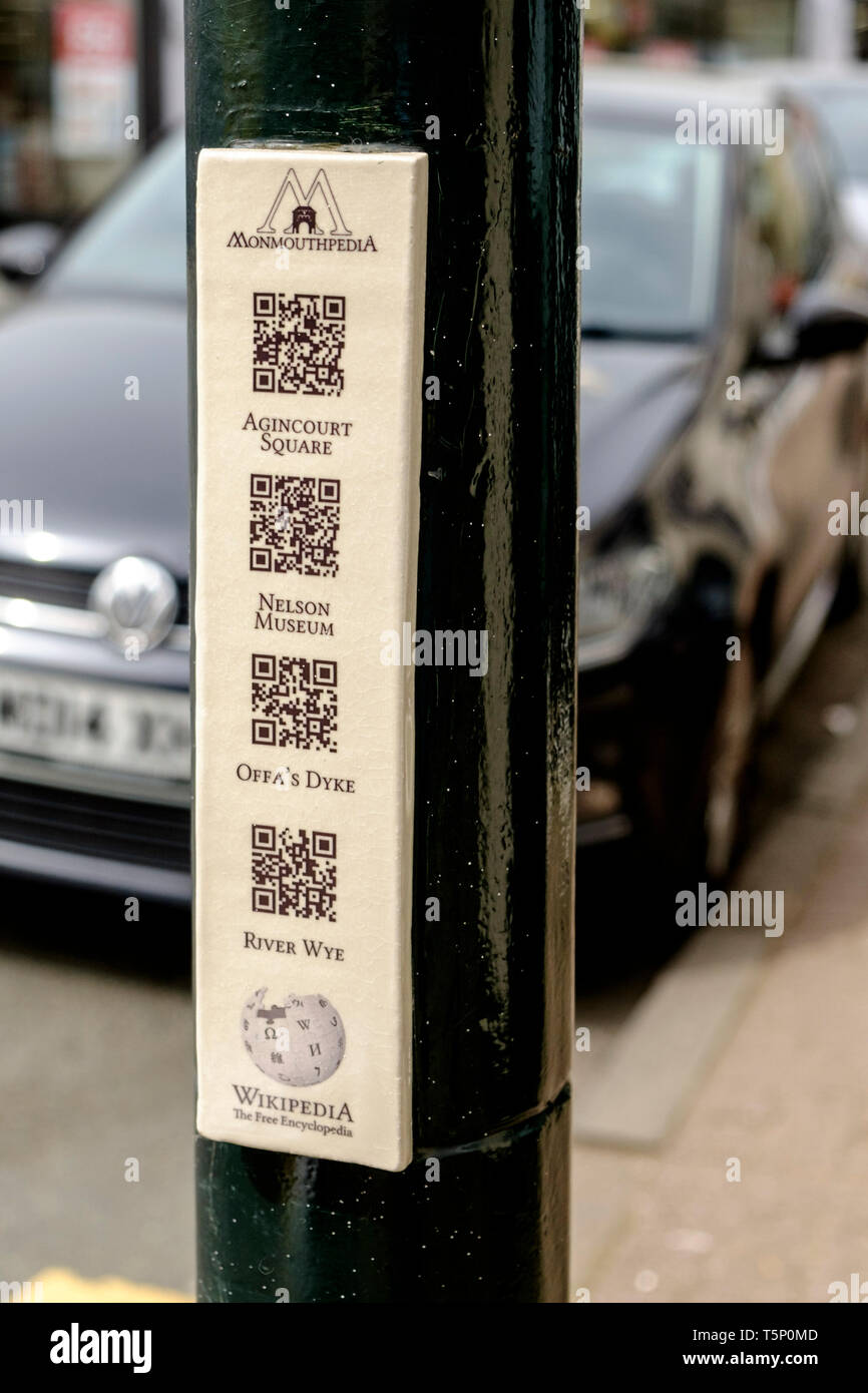 Around Monmouth a historic town in Monmouthshire Wales UK Tourist QR codes - Stock Image