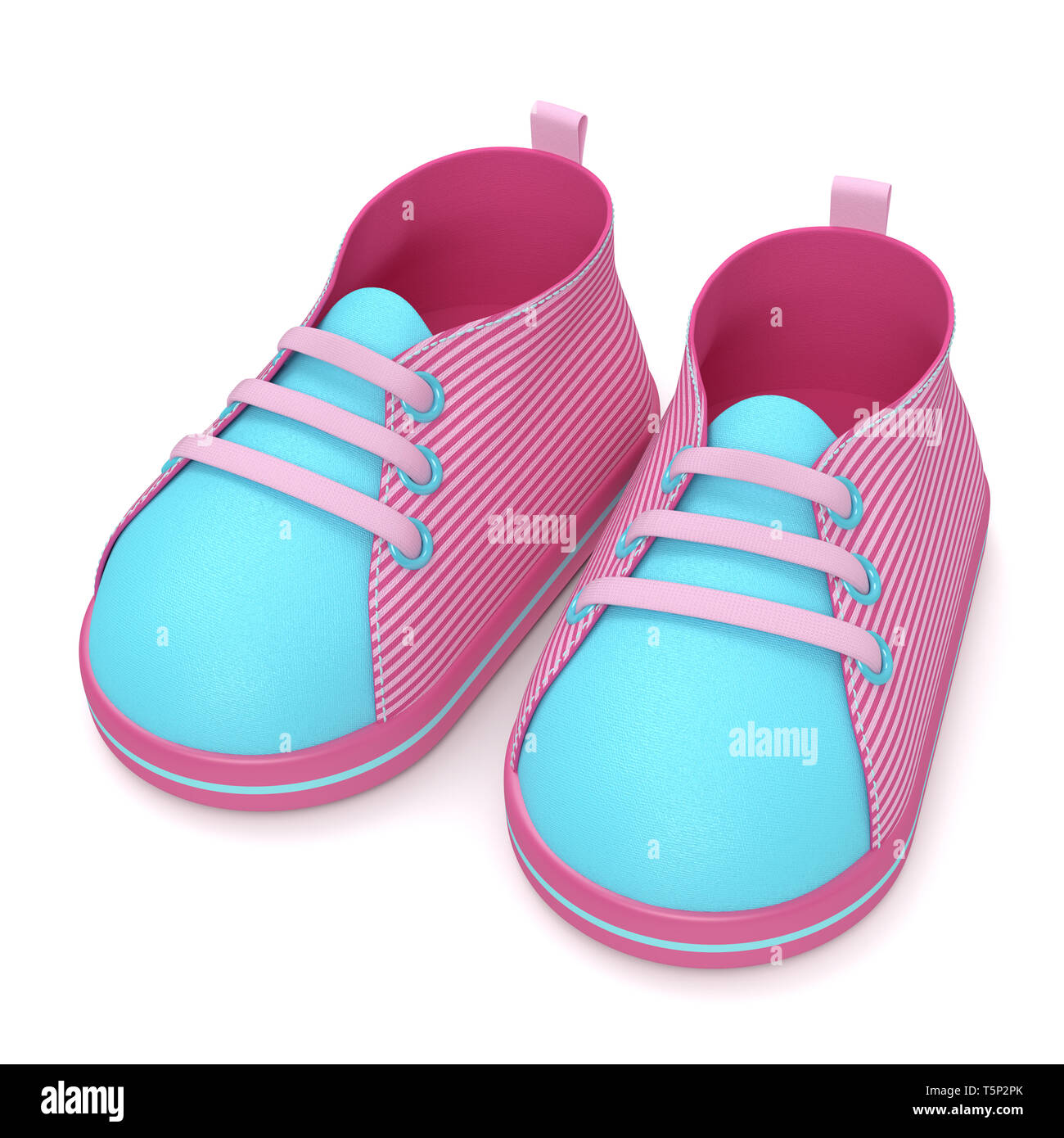 3d render of baby shoes isolated over white background Stock