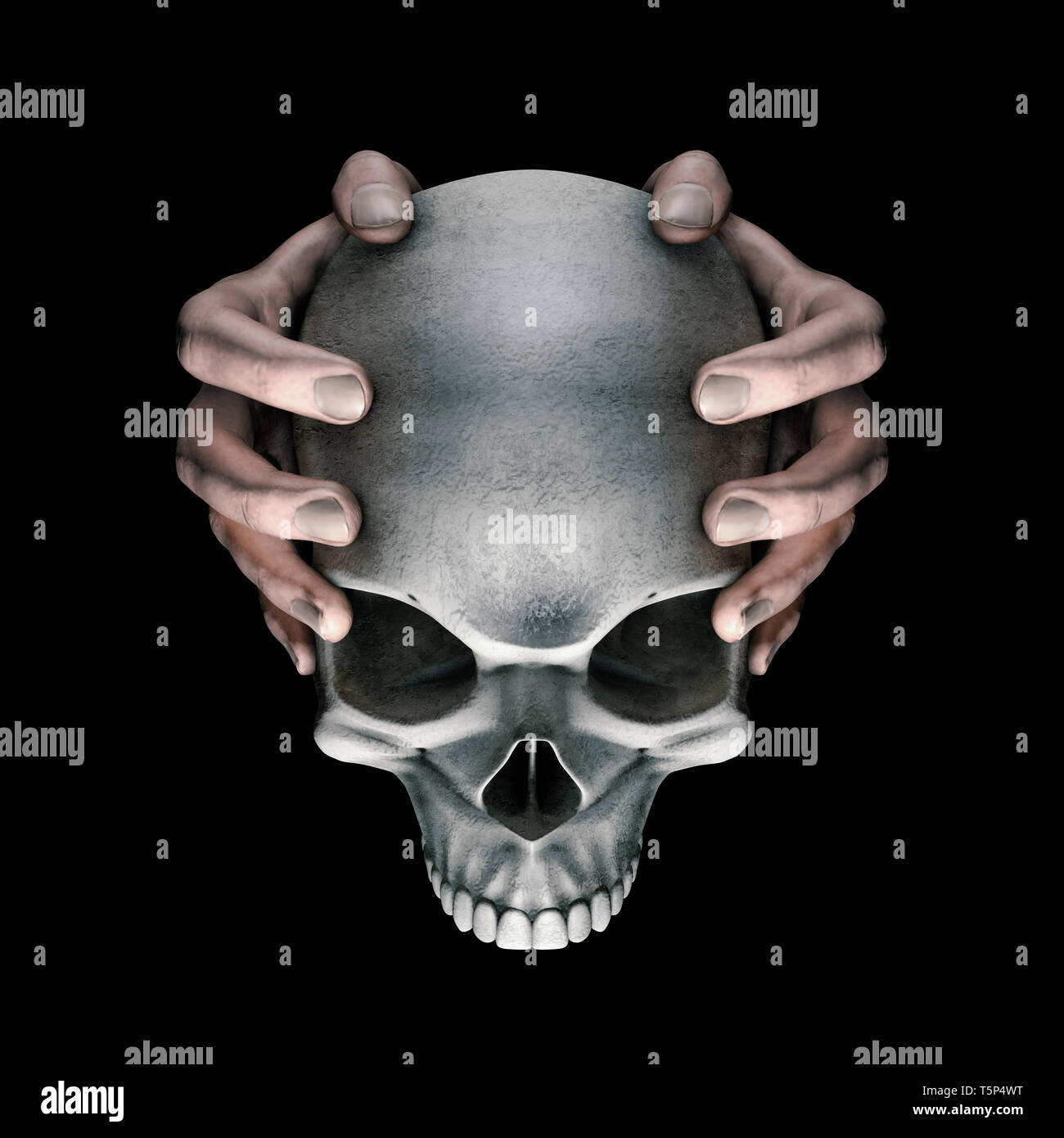 Dark thoughts horror skull / 3D illustration of hands holding scary