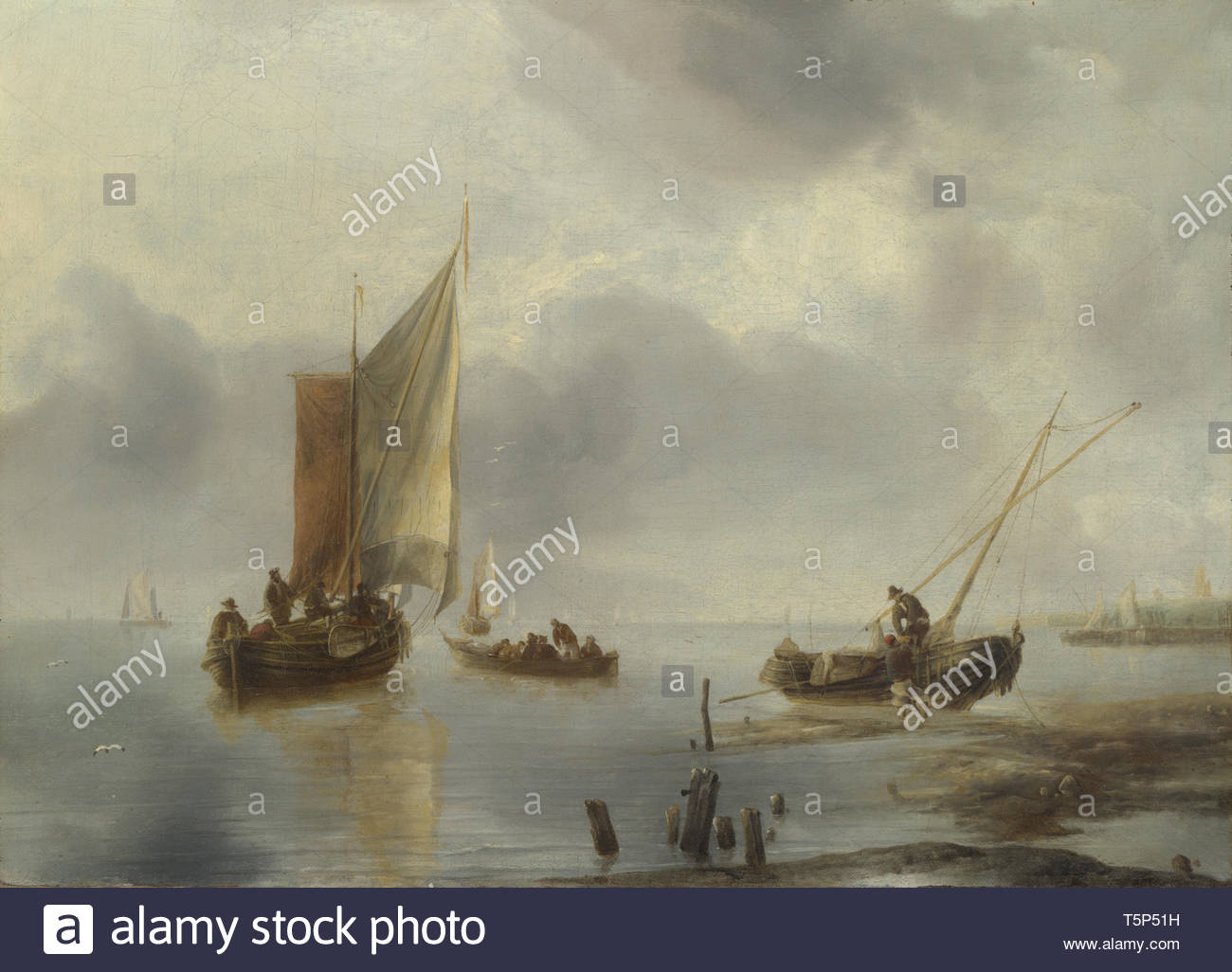 Jan van de Cappelle-A Small Vessel in Light Airs, and Another Ashore - Stock Image