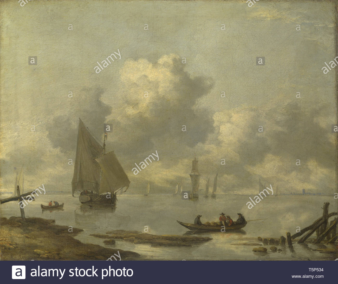 Jan van de Cappelle-Vessels in Light Airs on a River near a Town - Stock Image