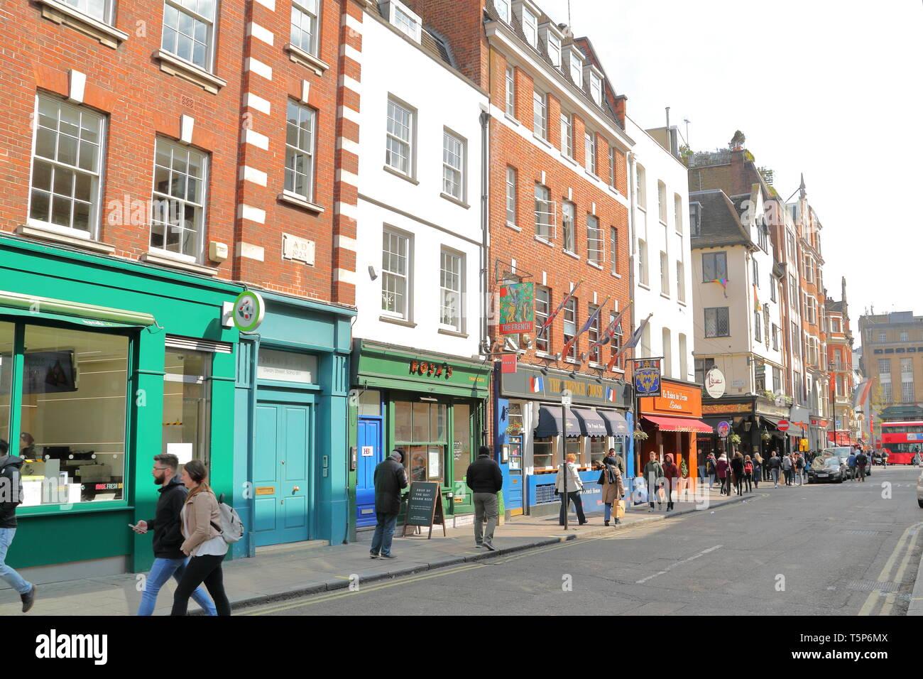 View of Dean Street in Soho, London, UK - Stock Image