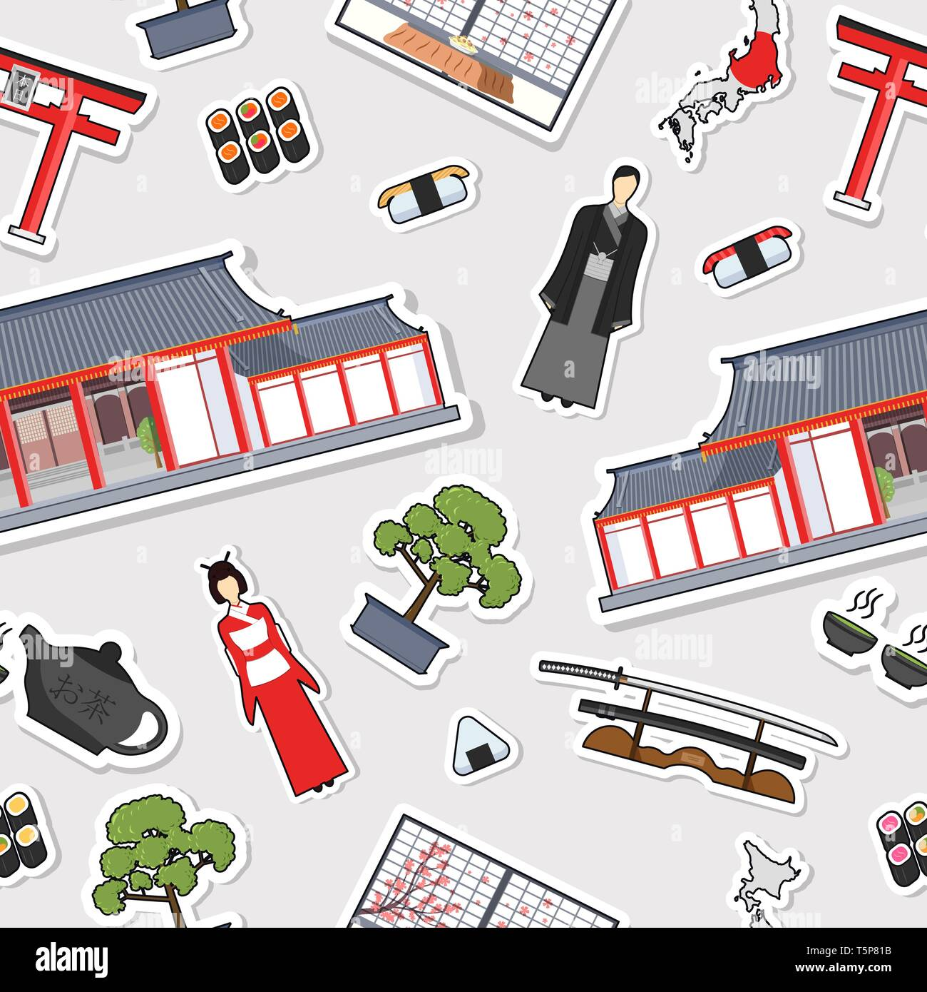 Country Japan travel vacation guide of goods, places and features. Set of architecture, fashion, people, items, nature background concept. Seamless pattern template design  on sticker flat style - Stock Vector
