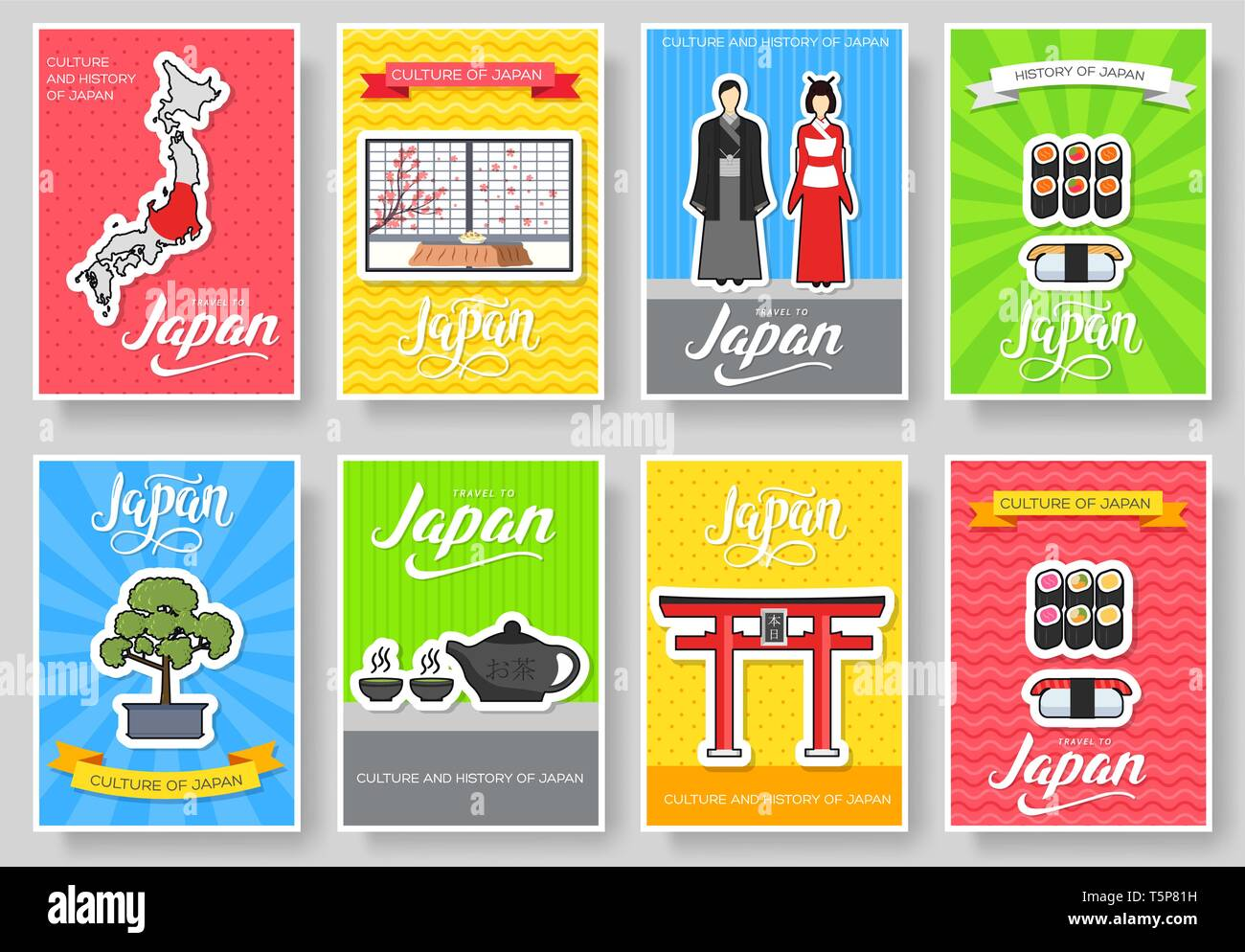Set of Japan country ornament travel tour concept. Asia traditional, magazine, book, poster, abstract, element. Vector decorative ethnic greeting card or invitation design background - Stock Vector