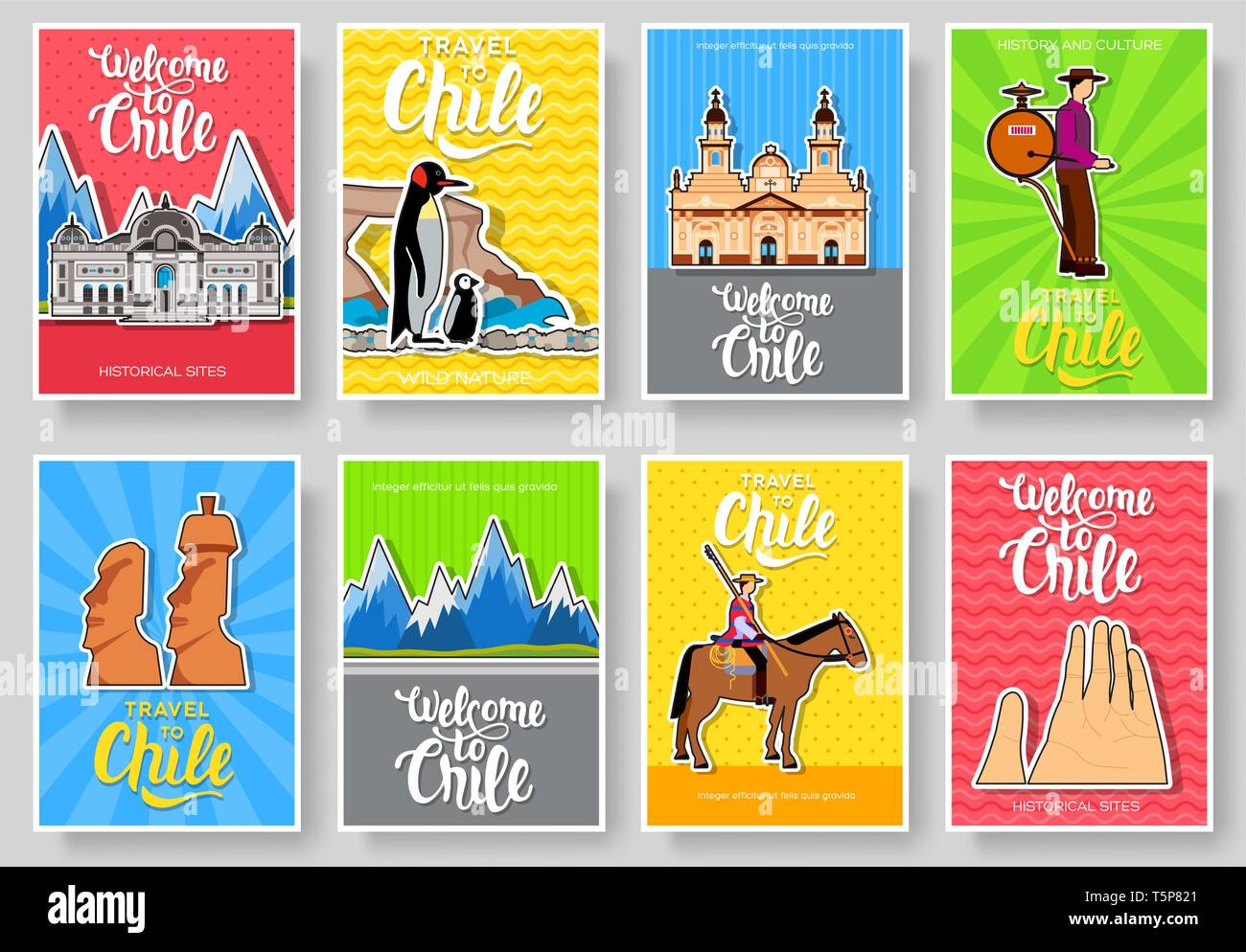 Chile vector brochure cards thin line set  Country travel