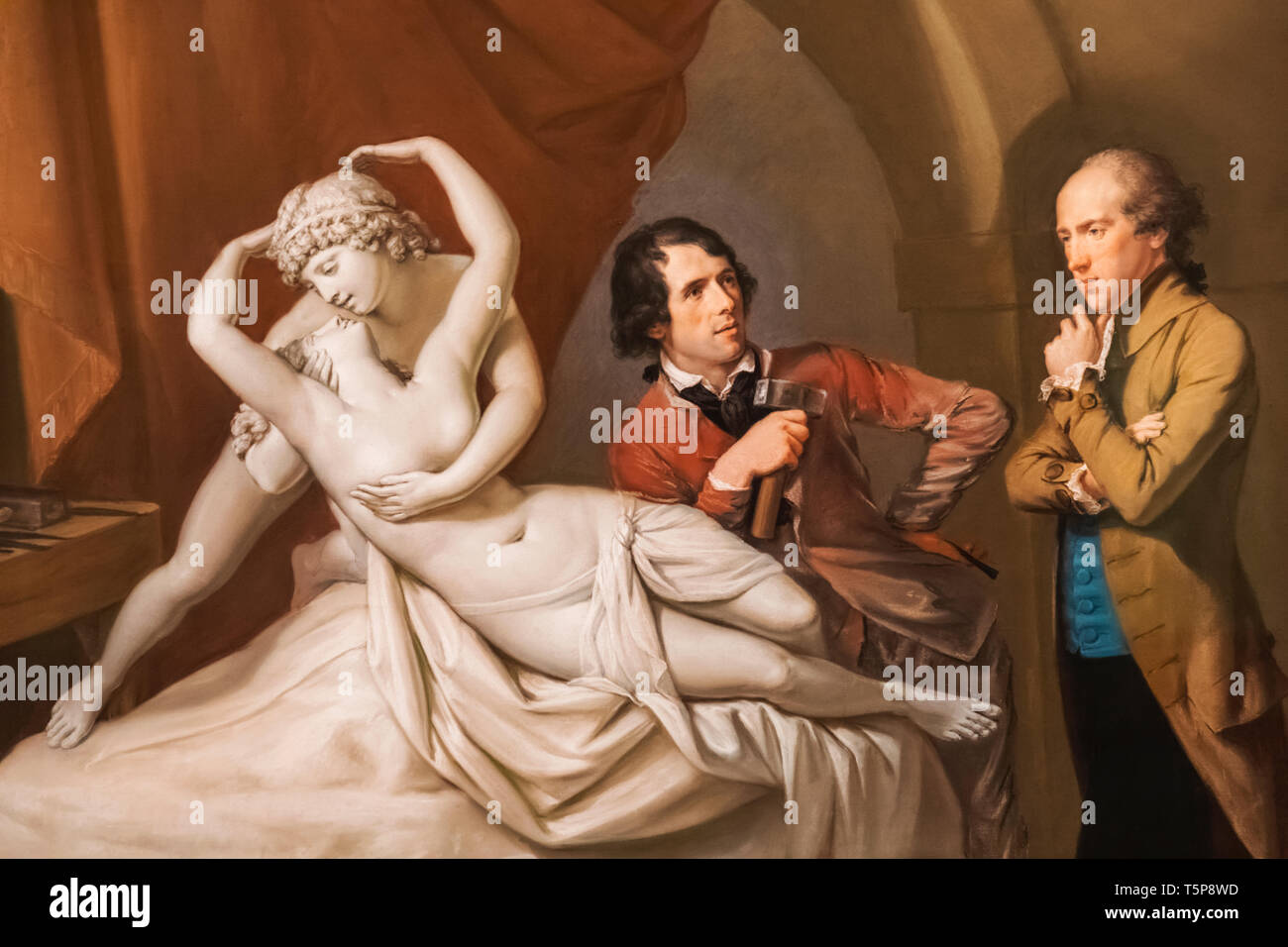 Painting of The Italian Sculptor Antonio Canova in His Studio by Hugh Douglas Hamilton dated 1790 - Stock Image