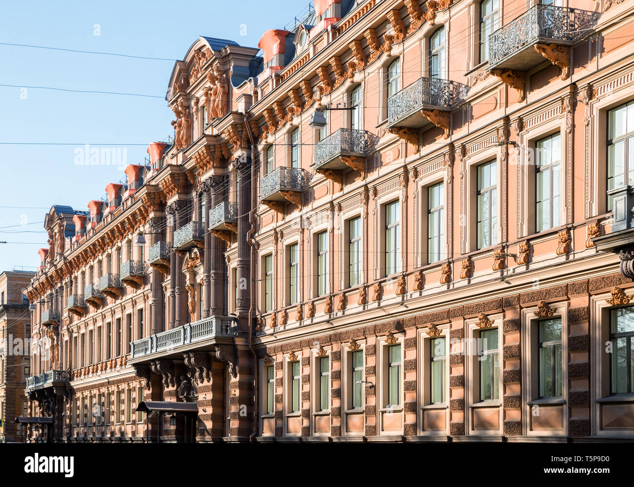 Facade of  Profitable house of Utin in neo-baroque style, was built in 1858 by architect Kuzmin R.I. on Horse Guards (Konnogvardeysky) Boulevard, St.  - Stock Image