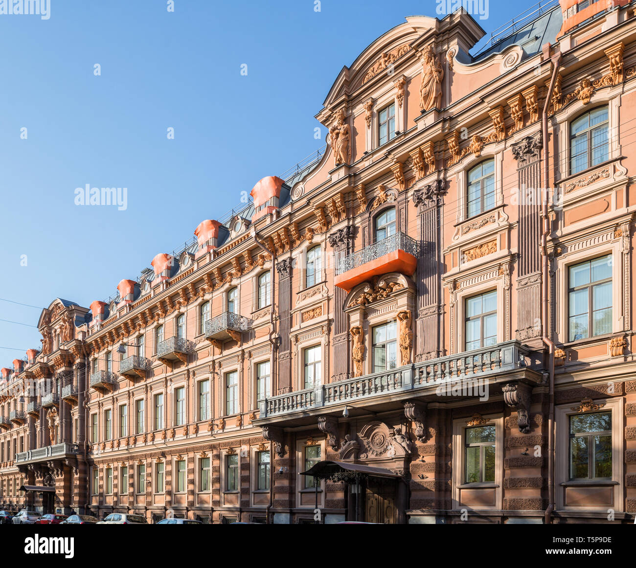 Profitable house of Utin in neo-baroque style was built in 1858 by architect Kuzmin R.I. on Horse Guards (Konnogvardeysky) Boulevard, St. Petersburg,  - Stock Image
