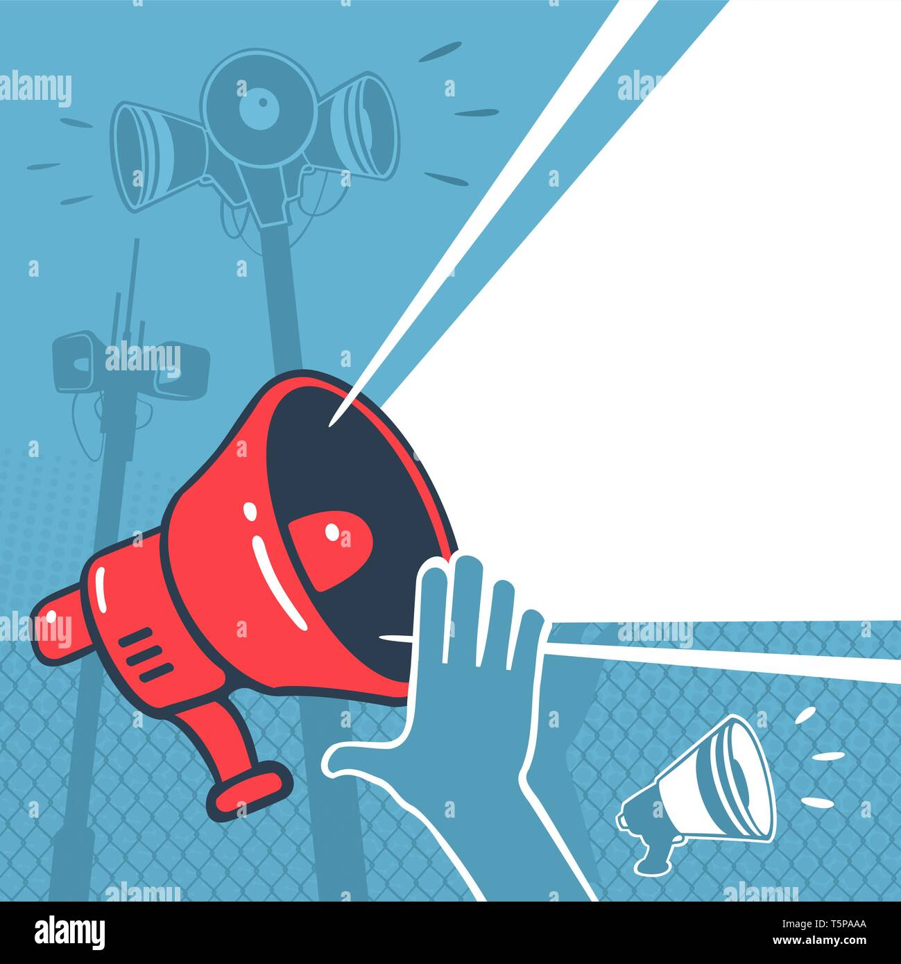 Vector Illustration Megaphone Element Propaganda - Stock Image