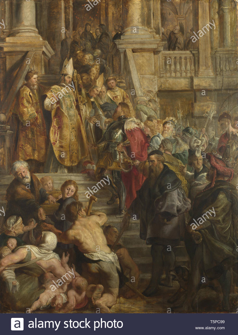 Peter Paul Rubens-Saint Bavo is received by Saints Amand and Floribert - Stock Image