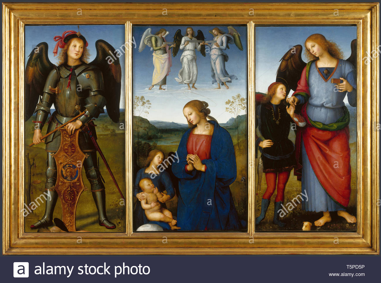Pietro Perugino-Three Panels from an Altarpiece, Certosa Stock Photo