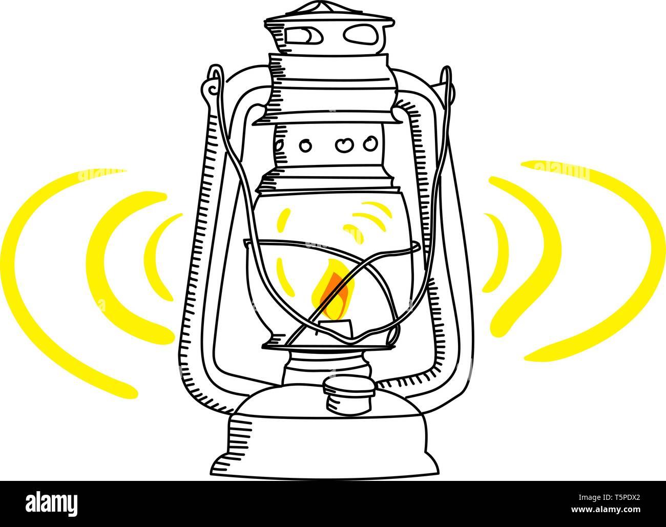 The old kerosene lamp isolated on white background - Stock Vector