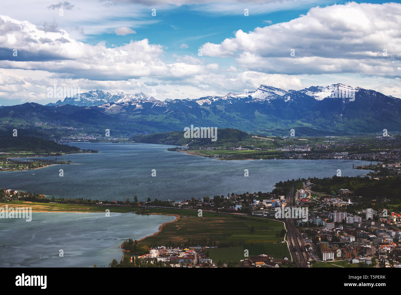 Aerial photos near to Obersee in Switzerland. - Stock Image