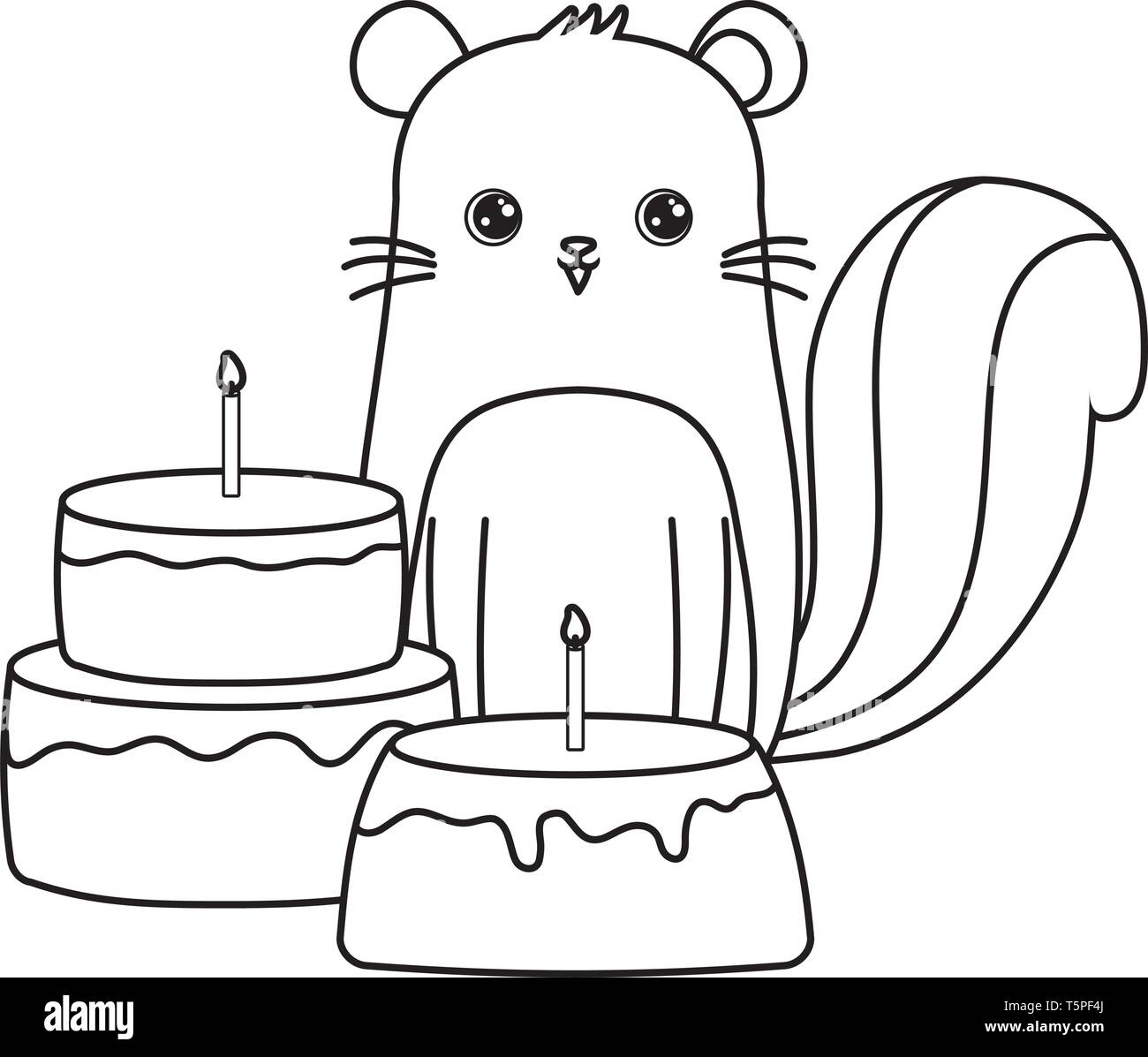 cute chipmunk with cakes of birthday vector illustration design - Stock Image