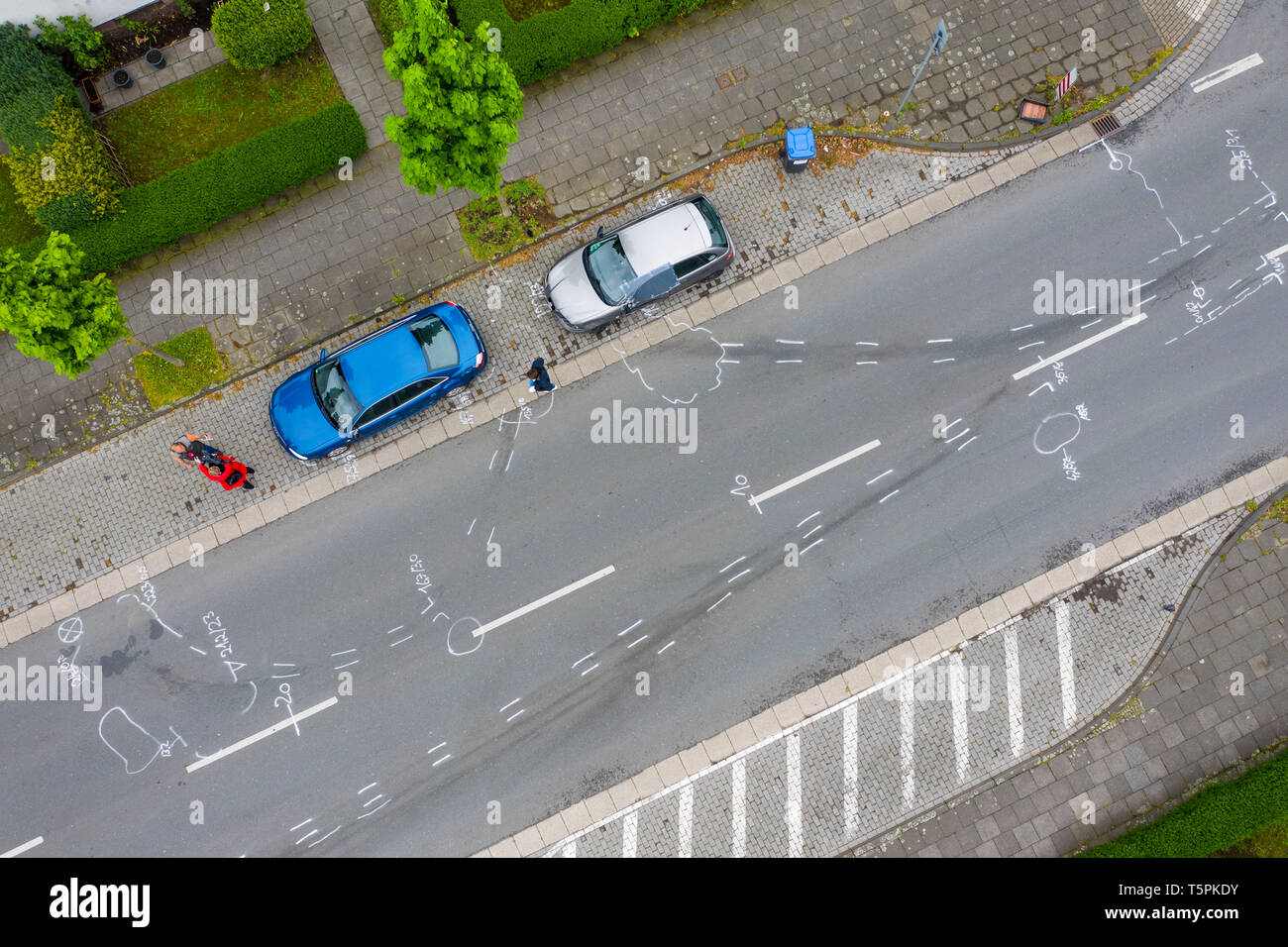Moers, Germany  26th Apr, 2019  White markings by the police