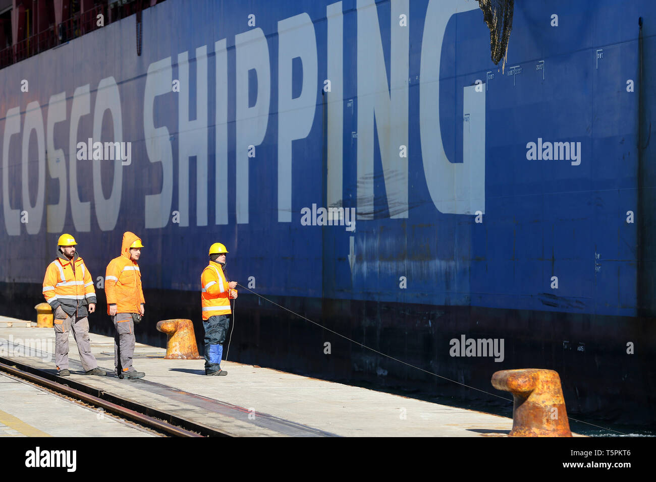 Piraeus Port, Greece  16th Jan, 2019  Staff members prepare to