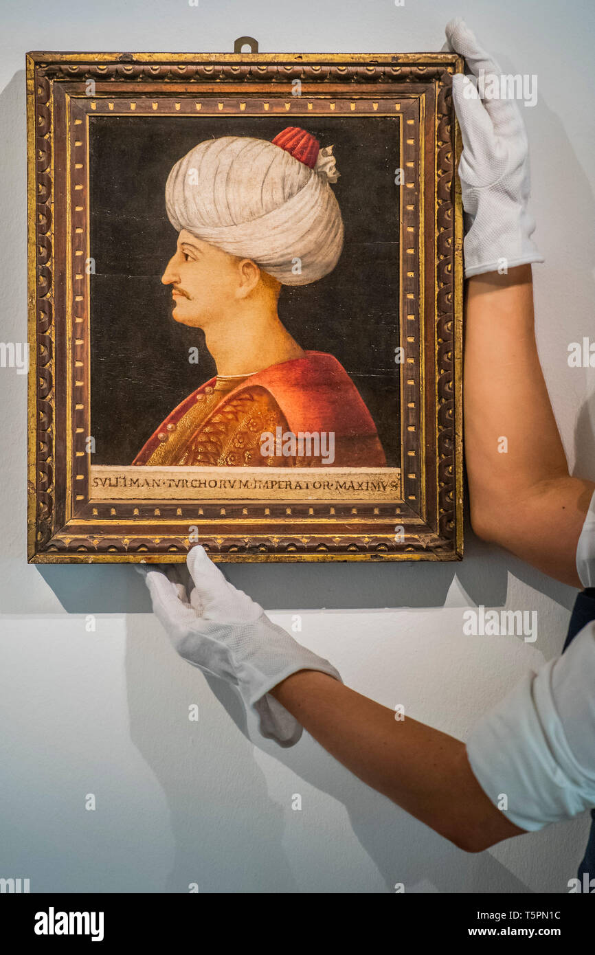Sothebys, London, UK. 26th Apr 2019. A portrait of Suleyman the Magnificent, by a follower of Gentile Bellini, Italy, probably Venice, circa 1520 (est. £250,000-350,000) - A Preview of 1,200 Years of Middle Eastern Art at Sotheby's London. The auctions will take place on 30 April and 1 May. Credit: Guy Bell/Alamy Live News Stock Photo