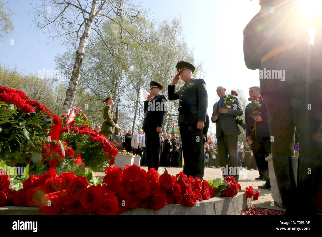 Minsk, Belarus. 26th Apr, 2019. Soldiers salute in a ceremony to commemorate the victims of the Chernobyl disaster in Minsk, Belarus, April 26, 2019. The Chernobyl nuclear power plant, some 110 km north of the Ukrainian capital Kiev, witnessed one of the worst nuclear accidents in human history on April 26, 1986, when a series of explosions ripped through the No.4 reactor, spreading radiation across Ukraine, Belarus, Russia and other European countries. Credit: Efim Mazurevich/Xinhua/Alamy Live News - Stock Image