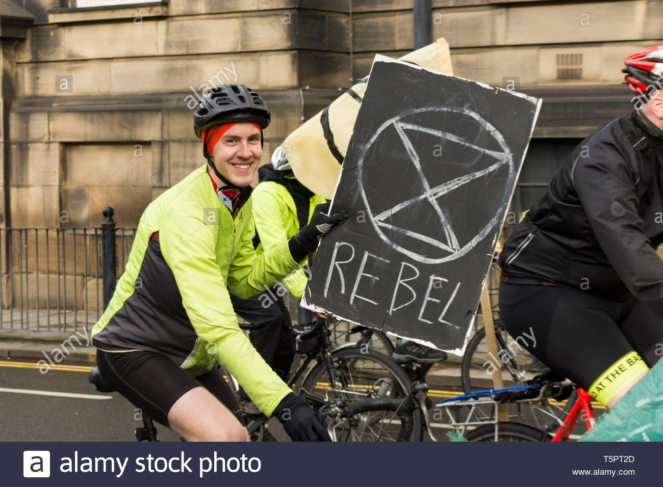 Lancaster, Lancashire, England, UK. 26th Apr, 2019. Morecambe Bay Extinction Rebels hold a Critical Mass Event starting in Dalton Square, Lancaster to increase awareness of the impacts of Climate Change and to seek drastic action to reduce the increase in CO2 levels. The aim is to dominate the streets with sustainable healthy travel, by cycling round the often gridlocked one way system in the City. Lancaster City Council declared a 'Climate Emergency' in January 2019. Credit: Keith Douglas News/Alamy Live News Stock Photo
