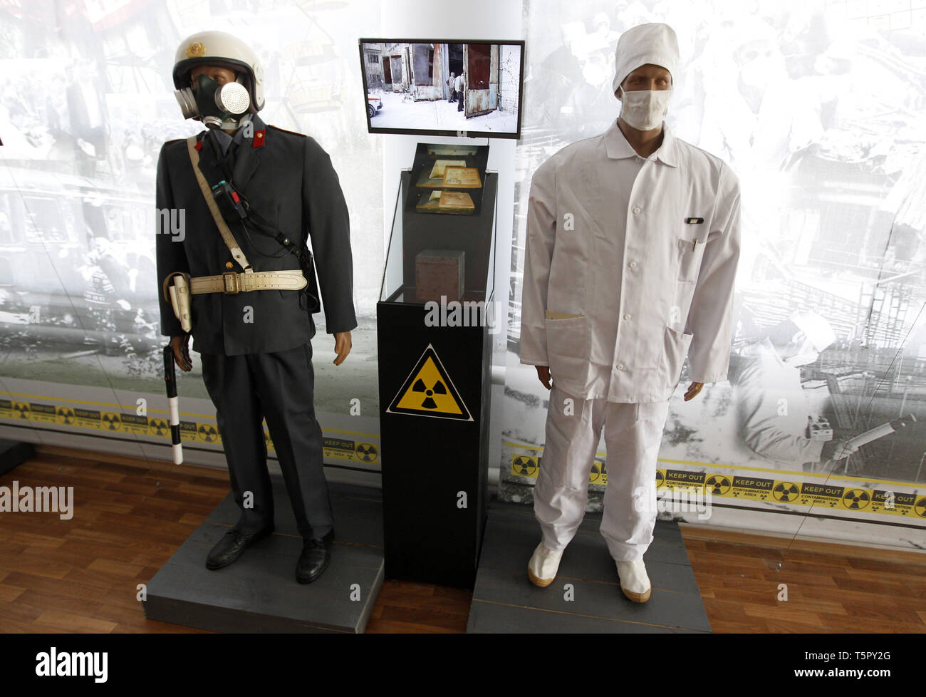 Kiev, Kiev, Ukraine. 26th Apr, 2019. Exhibits are seen at a local museum dedicated to the Chernobyl disaster during the anniversary.Ukrainians mark the 33rd anniversary of Chernobyl catastrophe. The explosion of the fourth block of the Chernobyl nuclear plant on 26 April 1986 is still regarded as the biggest accident in the history of nuclear power generation. Credit: Pavlo Gonchar/SOPA Images/ZUMA Wire/Alamy Live News - Stock Image