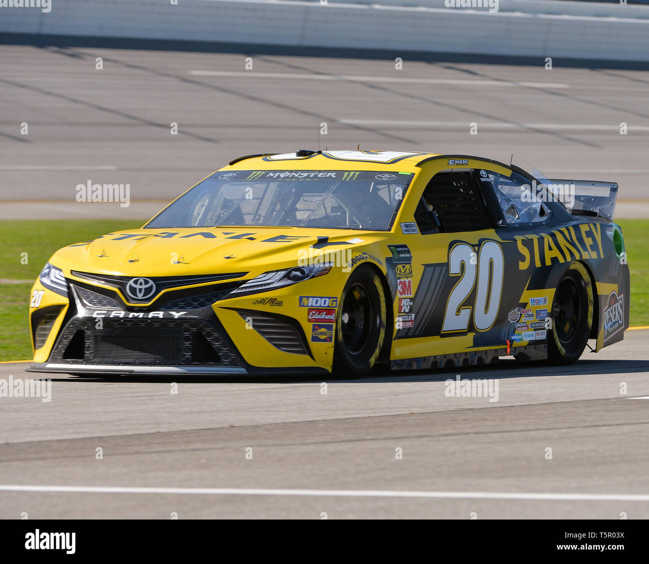Lincoln, AL, USA. 26th Apr, 2019. The Stanley Toyota (20), driven by Erik Jones in the pit area during the General Tire 200 at Talladega Super Speedway in Lincoln, AL. Kevin Langley/Sports South Media/CSM/Alamy Live News - Stock Image