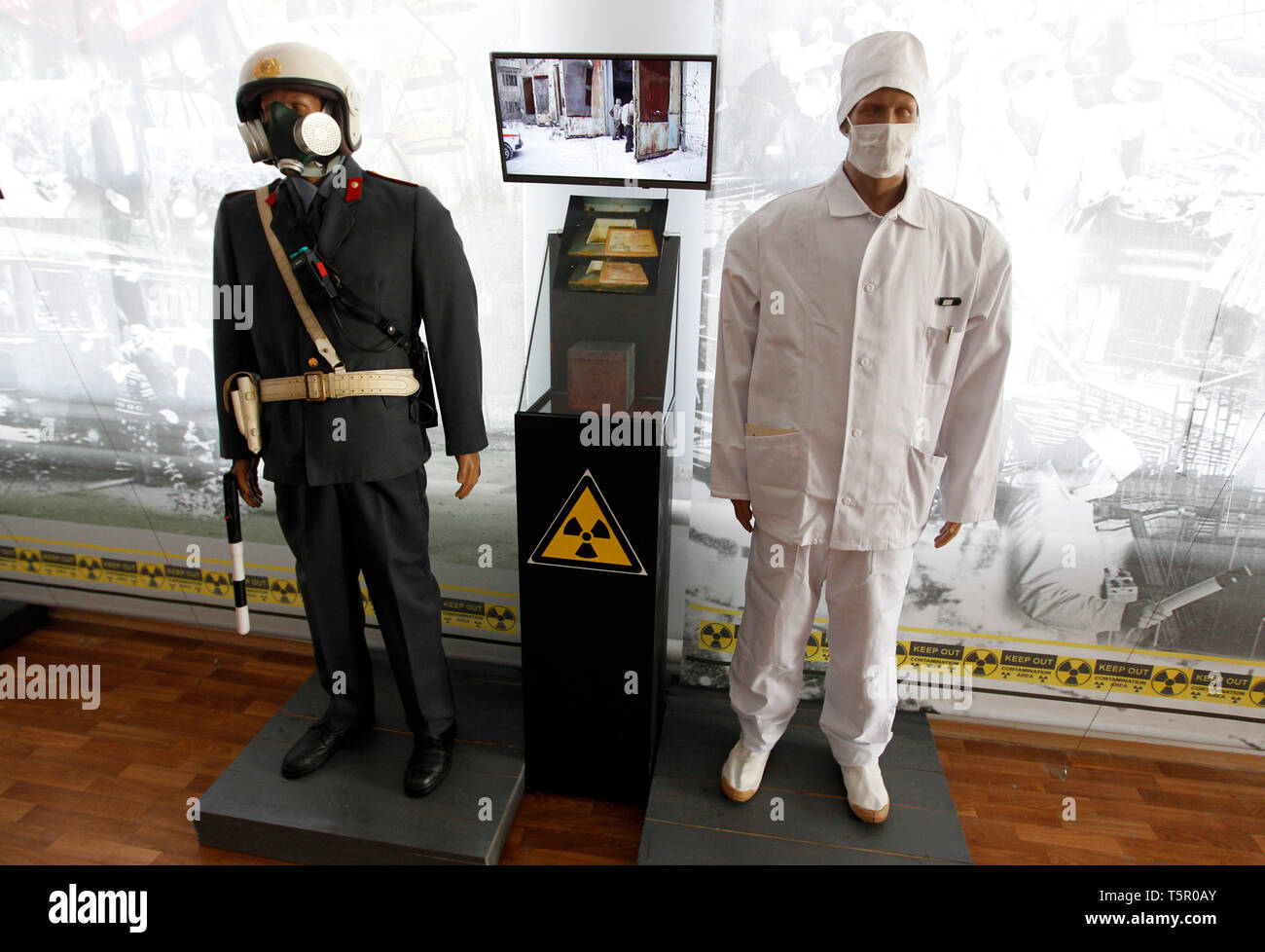 Exhibits are seen at a local museum dedicated to the Chernobyl disaster during the anniversary. Ukrainians mark the 33rd anniversary of Chernobyl catastrophe. The explosion of the fourth block of the Chernobyl nuclear plant on 26 April 1986 is still regarded as the biggest accident in the history of nuclear power generation. - Stock Image