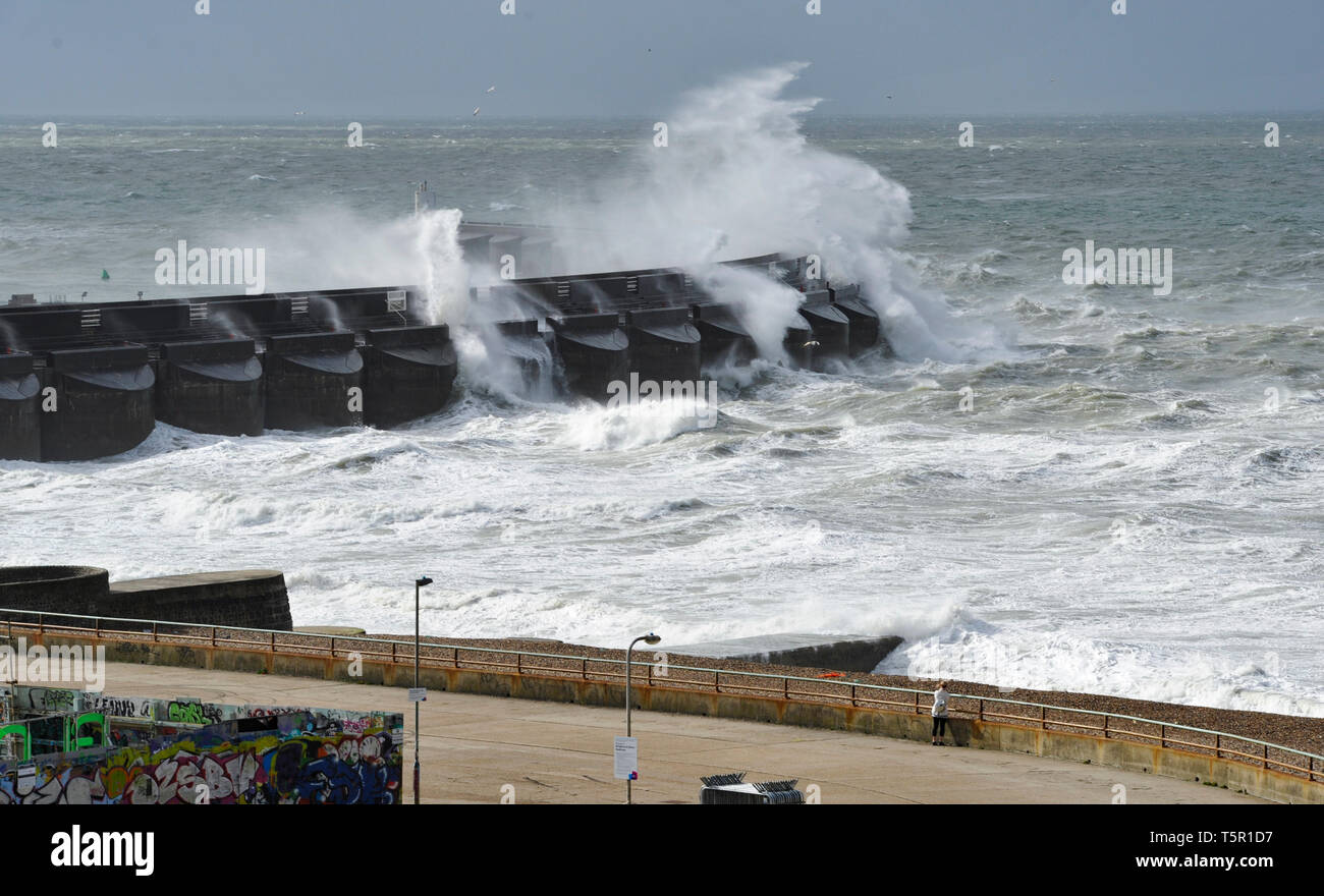 Brighton, UK. 27th Apr, 2019. Huge waves crash over Brighton Marina wall as Storm Hannah hits Britain this morning with strong winds forecast to affect parts of the country Credit: Simon Dack/Alamy Live News Stock Photo