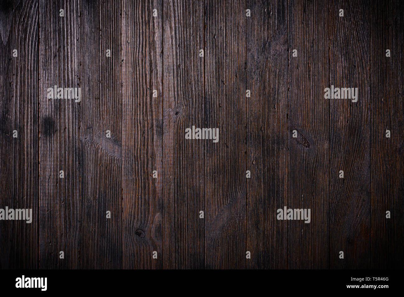 Dark vintage wooden table texture background top view - Stock Image