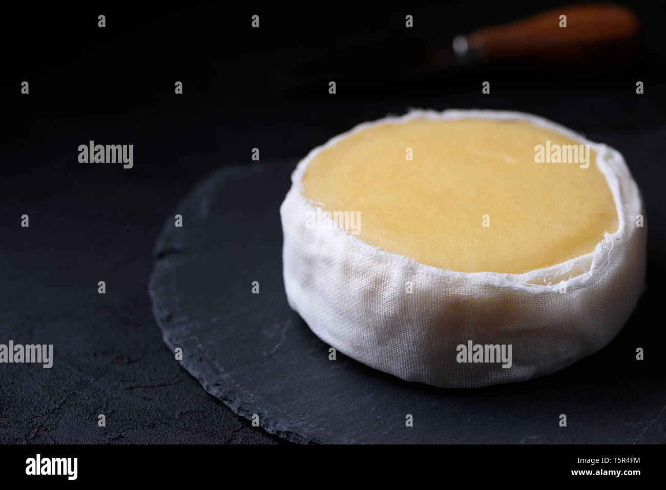 Butter soft creamy sheep cheese from Seia region Portugal on slate board - Stock Image