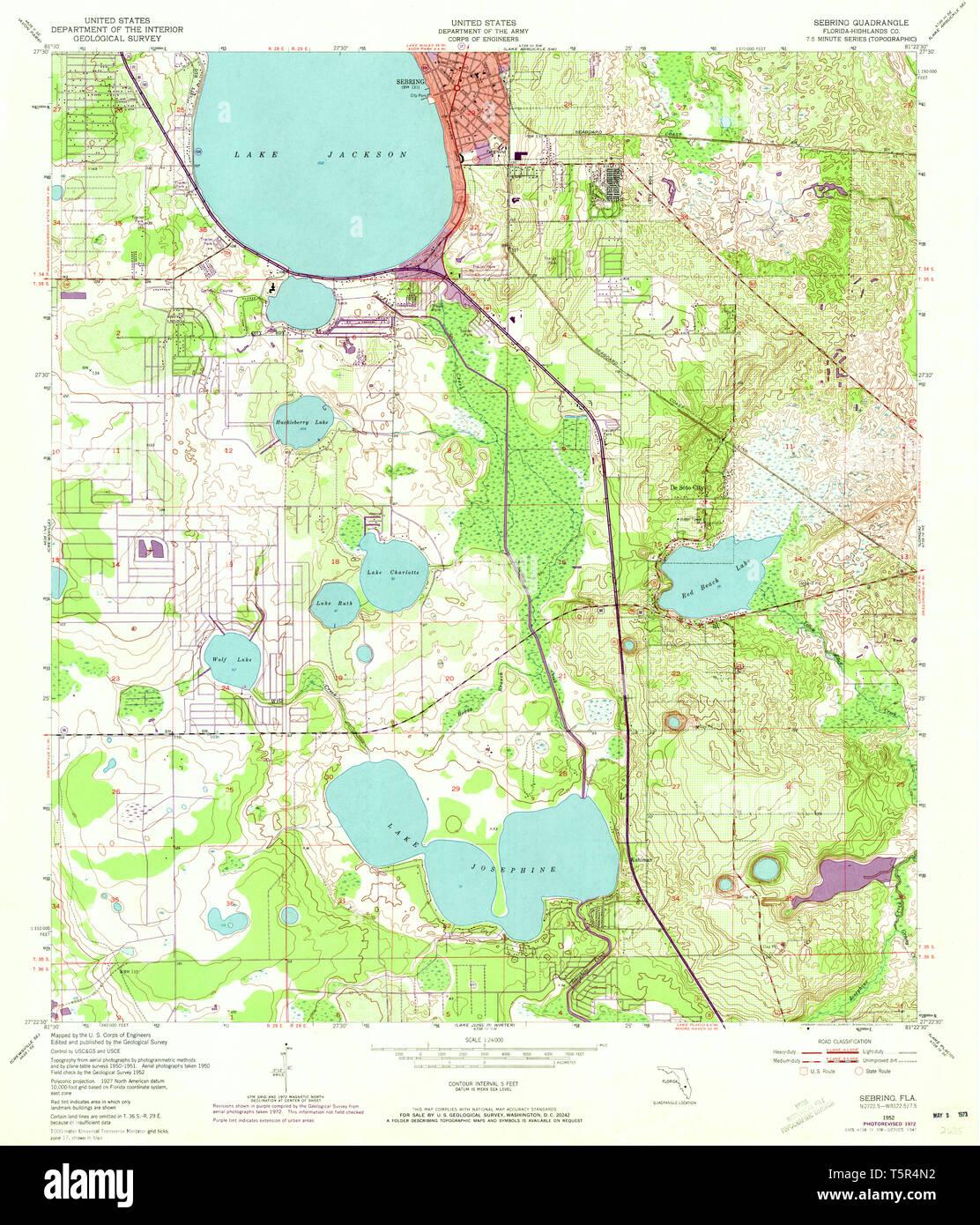 USGS TOPO Map Florida FL Sebring 348480 1952 24000 ...