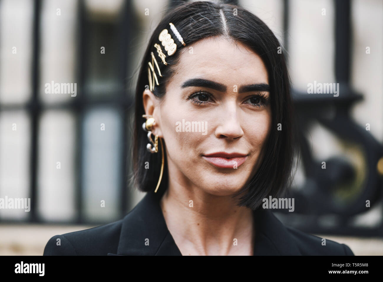 Paris, France - March 02, 2019: Model portrait after a fashion show during Paris Fashion Week - PFWFW19 - Stock Image
