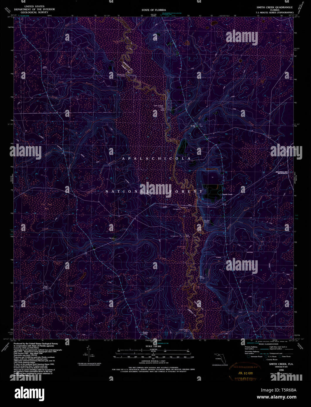 USGS TOPO Map Florida FL Smith Creek 348526 1990 24000 Inverted ...