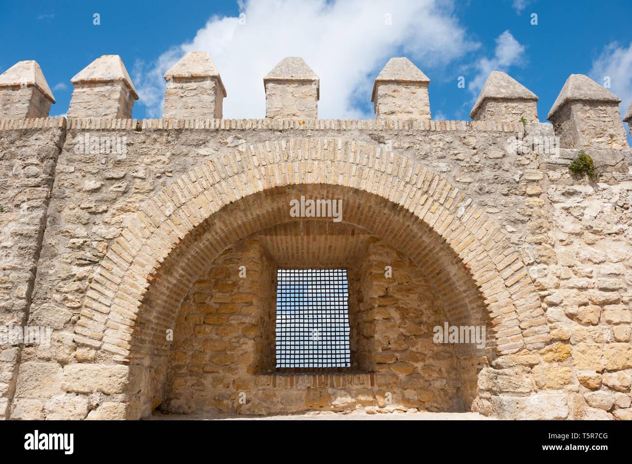 Moorish medieval town wall in Vejer de La Frontera, Cadiz, Spain - Stock Image