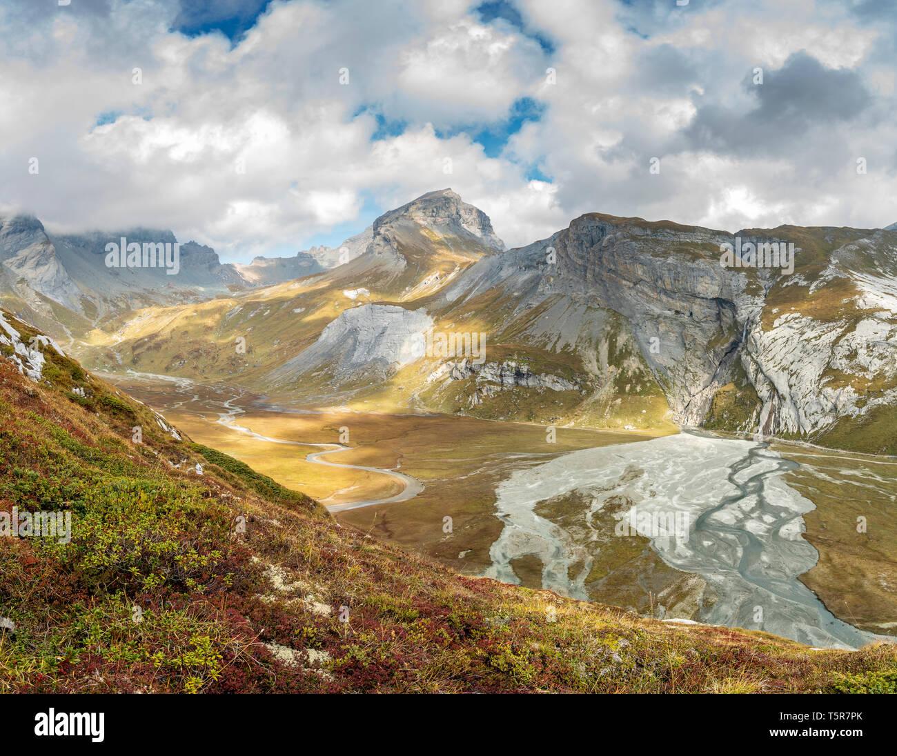 View of mountain panorama and Unterer Segnesboden, Flims, Graubünden, Switzerland - Stock Image