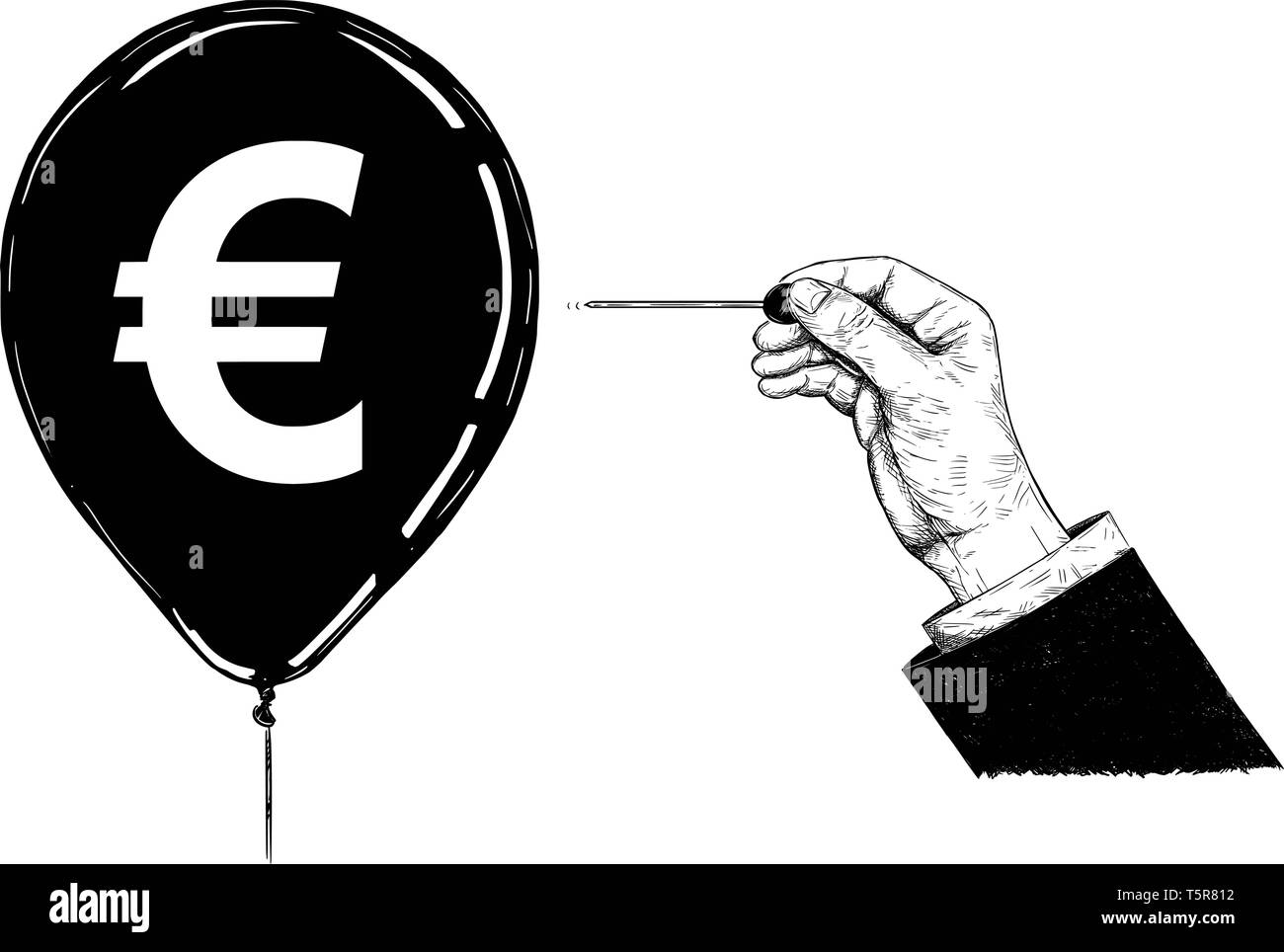 Cartoon drawing conceptual illustration of hand of businessman with needle or pin popping Euro currency symbol balloon. - Stock Vector