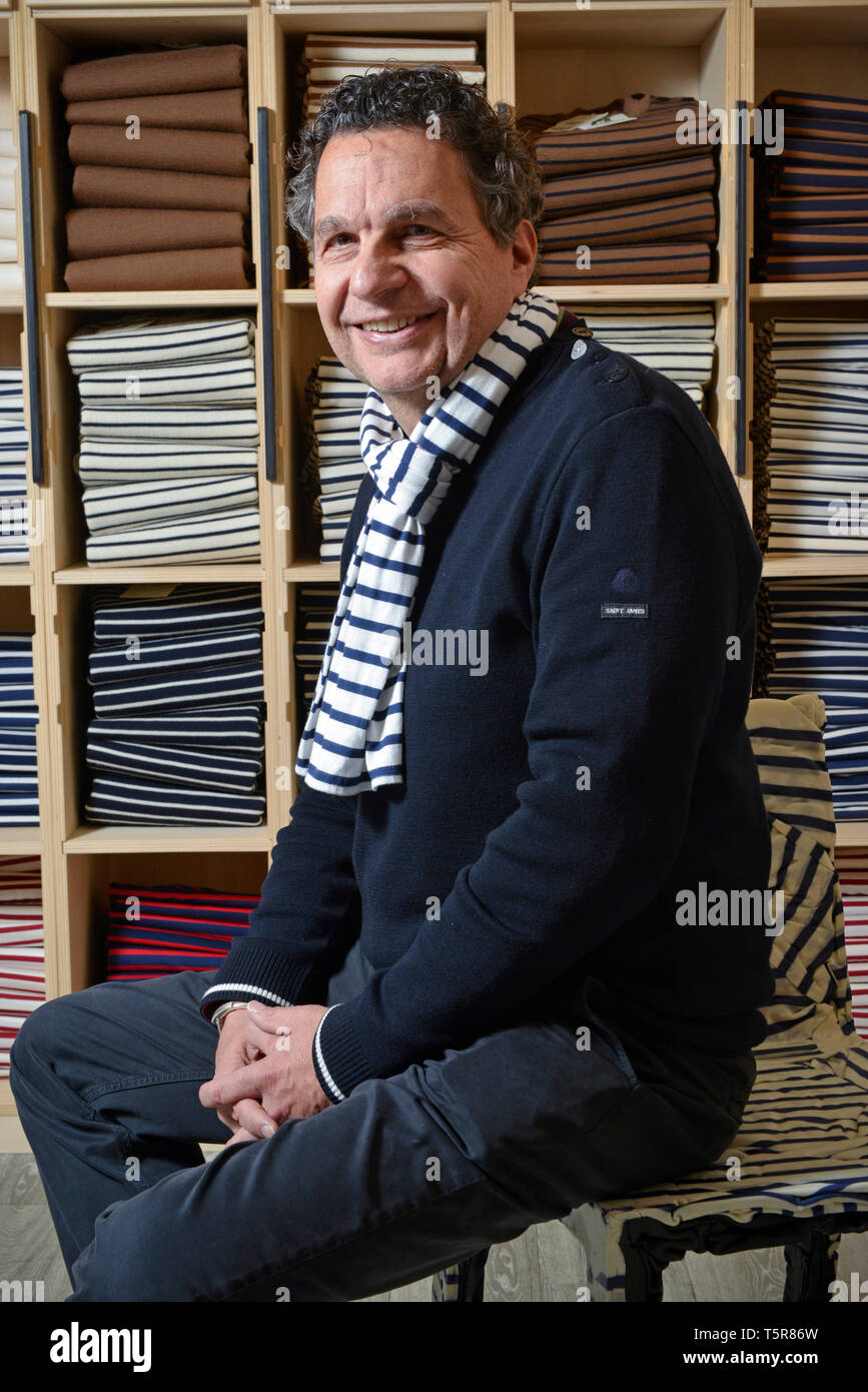 """Tricots Saint James garment factory in Saint-James (Normandy, north-western France), traditional sailor's jersey and Breton striped shirt (French """"mar Stock Photo"""