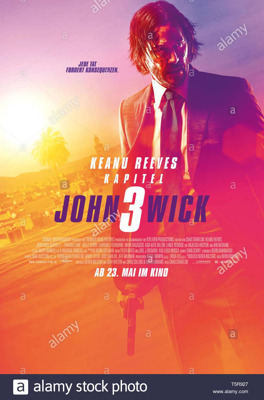 JOHN WICK PARABELLUM JOHN WICK: CHAPTER 3 - PARABELLUM 2019 de Chad Stahelski affiche allemande Keanu Reeves. action; suite; sequel; sequelle d'apres - Stock Image