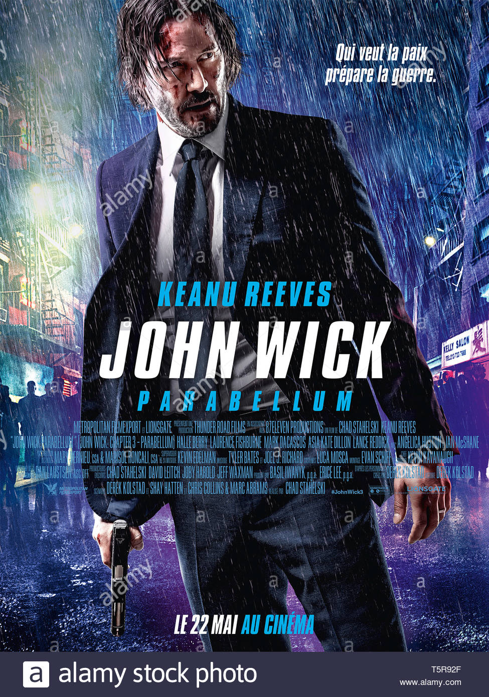 JOHN WICK PARABELLUM JOHN WICK: CHAPTER 3 - PARABELLUM 2019 de Chad Stahelski affiche française Keanu Reeves. action; suite; sequel; sequelle d'apres - Stock Image