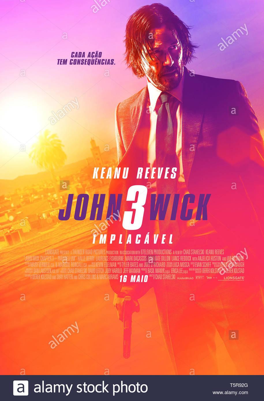 JOHN WICK PARABELLUM JOHN WICK: CHAPTER 3 - PARABELLUM 2019 de Chad Stahelski affiche portugaise Keanu Reeves. action; suite; sequel; sequelle d'apres - Stock Image
